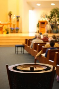Baptismal font, foreground